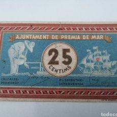 Billetes locales: PREMIA DE MAR. BARCELONA. 25 CENTIMS. Lote 217516278