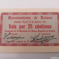 Billetes locales: TOTANA. AYUNTAMIENTO. VALE 25 CENTIMOS. SC. Lote 217516495