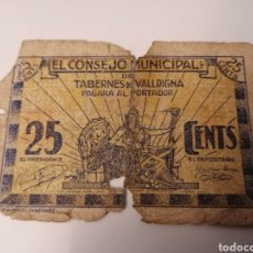 Billetes locales: TABERNES DE VALLDIGNA. VALENCIA. 25 CÉNTIMOS. GUERRA CIVIL.. Lote 217572147