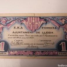 Billetes locales: LLEIDA. AJUNTAMENT. 1 PESSETA. Lote 217572205