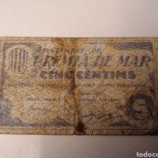Billetes locales: PREMIA DE MAR. BARCELONA. 5 CENTIMS. Lote 217572350