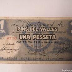 Billetes locales: PINS DEL VALLES. BARCELONA. 1 PESSETA. Lote 217573185