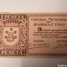 Billetes locales: BARBASTRO. HUESCA. GUERRA CIVIL. 1 PESETA. Lote 217573820