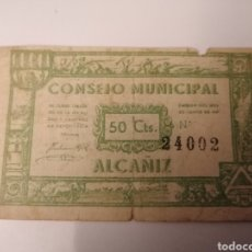 Billetes locales: ALCAÑIZ. TERUEL. CONSEJO MUNICIPAL. 50 CENTIMOS. Lote 217573850