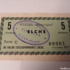 Billetes locales: ELCHE. ALICANTE. CONSEJO MUNICIPAL. 5 CENTIMOS. NUM. 00001. Lote 217574048