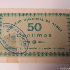 Billetes locales: ALBOX. ALMERÍA. 50 CÉNTIMOS. AGOSTO 1937. Lote 217628605