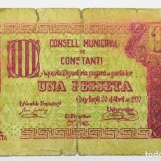 Billetes locales: CONSTANTI TARRAGONA), BILLETE DE 1 PESETA DE 20 DE ABRIL DE 1937. LOTE 1501. Lote 217685735