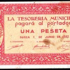 Billetes locales: SUECA (VALENCIA) 1 PESETA 1937 - SERIE A - MANCHITAS. Lote 217724560