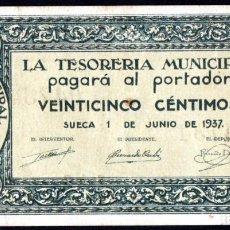 Billetes locales: SUECA (VALENCIA) 25 CENTIMOS 1937 - SERIE B - EBC+. Lote 217724885