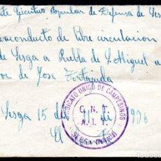 Billetes locales: SESGA (VALENCIA) SALVOCONDUCTO DE SESGA A PUEBLA DE SAN MIGUEL - 15/11/1936 - GUERRA CIVIL. Lote 217725908