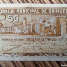 Billetes locales: ORIHUELA. ALICANTE. 50 CENTIMOS. Lote 217879026