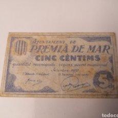Billetes locales: PREMIA DE MAR. BARNA. 5 CENTIMS. Lote 217882761