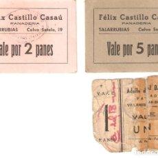 Billetes locales: LOTE 3 VALES DE PAN. TALARRUBIAS Y VILLANUEVA DEL FRESNO. BADAJOZ.. Lote 218064442