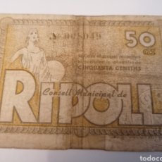 Billetes locales: RIPOLL. GIRONA. 50 CENTIMS. Lote 218149375