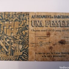 Billetes locales: BARCELONA. AJUNTAMENT. 1 PESSETA. Lote 218149785