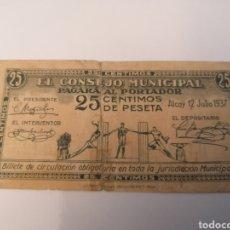 Billetes locales: ALCOY. ALICANTE. CONSEJO MUNICIPAL. 25 CÉNTIMOS. Lote 218155815