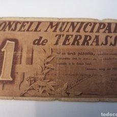 Billetes locales: TERRASSA. CONSELL MUNICIPAL. 1 PESSETA. Lote 218156490