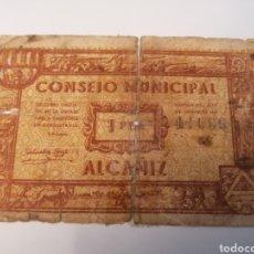 Billetes locales: ALCAÑIZ. TERUEL. CONSEJO MUNICIPAL. 1 PESETA. Lote 218156578
