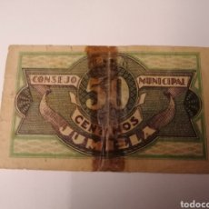 Billetes locales: JUMILLA. MURCIA. 50 CÉNTIMOS. Lote 218266452