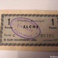 Billetes locales: ELCHE. ALICANTE. 1 PESETA. Lote 218267698