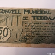 Billetes locales: TERRASSA. BARCELONA. 50 CENTIMS. Lote 218274606
