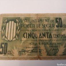 Billetes locales: POBLA DE SEGUR. LLEIDA. 50 CENTIMS. Lote 218297853