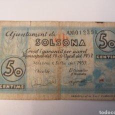 Billetes locales: SOLSONA. LLEIDA. 50 CENTIMS. Lote 218298620