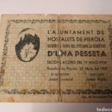 Billetes locales: HOSTALETS DE PIEROLA. BARCELONA. 1 PESSETA. Lote 218846762