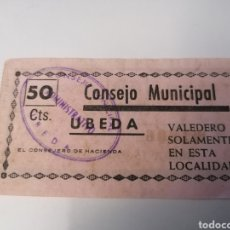 Billetes locales: UBEDA. JAEN CONSEJO MUNICIPAL. 50 CENTIMOS. Lote 218846802