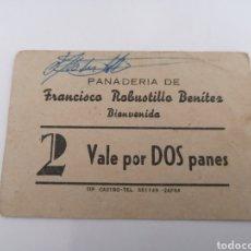 Billetes locales: BIENVENIDA. BADAJOZ. PANADERIA FRANCISCO ROBUSTILLO. VALE POR DOS PANES.. Lote 218916251