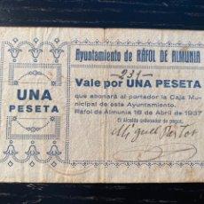 Billetes locales: AYUNTAMIENTO RAFOL DE ALMUNIA 1 PESETA ALICANTE. Lote 218989693