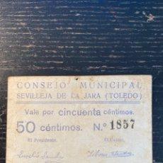 Billetes locales: SEVILLEJA DE LA JARA TOLEDO 50 CTS. Lote 218990202
