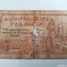 Billetes locales: PALAMOS. GIRONA. AJUNTAMENT. 1 PESSETA. Lote 219082766