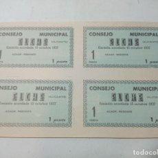 Billetes locales: BILLETE LOCAL. CONSEJO MUNICIPAL ELCHE. 4 BILLETES DE UNA PESETA GUERRA CIVIL 1937 SIN USO.. Lote 219092742