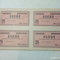 Billetes locales: BILLETE LOCAL. CONSEJO MUNICIPAL ELCHE. 4 BILLETES DE 25 CÉNTIMOS GUERRA CIVIL 1937 SIN USO.. Lote 219093285