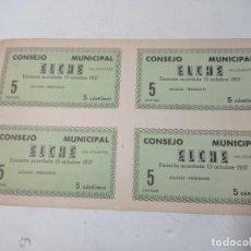 Billetes locales: BILLETE LOCAL. CONSEJO MUNICIPAL ELCHE. 4 BILLETES DE 5 CÉNTIMOS GUERRA CIVIL 1937 SIN USO.. Lote 219093620