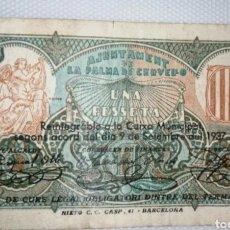 Billetes locales: B-64 RARO BILLETE 1 PESETA 1937 LA PALMA DE CERVELLO. SE MANDA EL DE LA FOTO. Lote 219136345