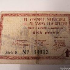 Billetes locales: VILANOVA I GELTRU. BARCELONA. 1 PESSETA. Lote 219242721