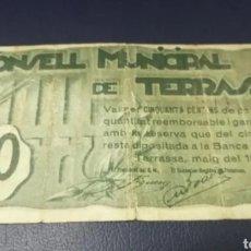 Billetes locales: B-68 BILLETE 50 CENTIMOS 1937 TERRASSA. SELLO SECO EN EL BILLETE 100% ORIGINAL. SE MANDA EL DE LA FO. Lote 219289936