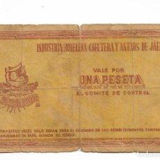 Billetes locales: 1 PESETA INDUSTRIA HOTELERA CAFETERA Y ANEXOS DE JAÉN. Lote 219365667