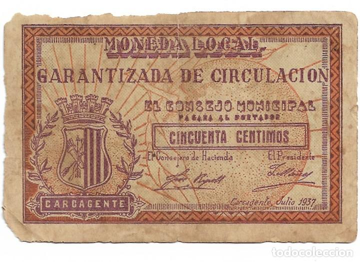 50 CENTIMOS. MONEDA LOCAL, CARCAGENTE. 1937 (Numismática - Notafilia - Billetes Locales)