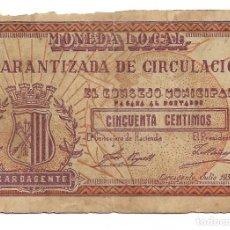 Billetes locales: 50 CENTIMOS. MONEDA LOCAL, CARCAGENTE. 1937. Lote 219457553