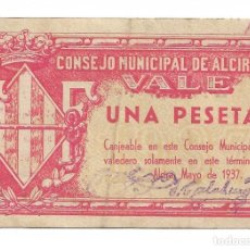 Billetes locales: 1 PESETA DEL CONSEJO MUNICIPAL DE ALCIRA . AÑO 1937. Lote 219458151