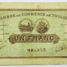 Billetes locales: TOULOUSE (FRANCIA), BILLETE DE 1 FRANC. CAMARA DE COMERCIO DE TOULOUSE. ESCASO LOTE 1525. Lote 239088430