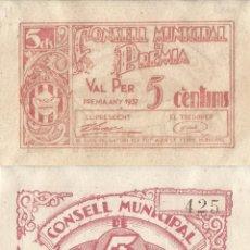 Billetes locales: BILLETE PREMIA DE MAR - 5 CENTIMOS - 1937 - NO CIRCULADO. Lote 219964746