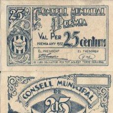 Billetes locales: BILLETE PREMIA DE MAR - 25 CENTIMOS - 1937 - NO CIRCULADO. Lote 219965287
