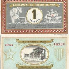 Billetes locales: BILLETE PREMIA DE MAR - 1 PESETA - 1937 - NO CIRCULADO. Lote 219968086