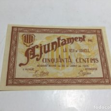 Billetes locales: LA SEU D'URGELL- 50 CTS. 1937- PLANCHA. Lote 220169627