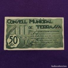 Billetes locales: BILLETE LOCAL ORIGINAL DE EPOCA. TERRASSA (BARCELONA). 1937. 50 CENTIMOS. GUERRA CIVIL.. Lote 220580101
