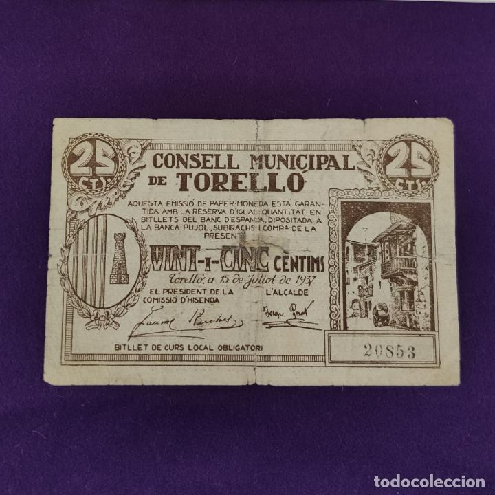 BILLETE LOCAL ORIGINAL DE EPOCA. TORELLÓ (BARCELONA). 1937. 25 CENTIMOS. GUERRA CIVIL. (Numismática - Notafilia - Billetes Locales)